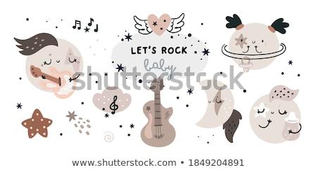estrela · do · rock · menina · guitarra · guitarra · elétrica · ver · de · volta · sensual - foto stock © keeweeboy