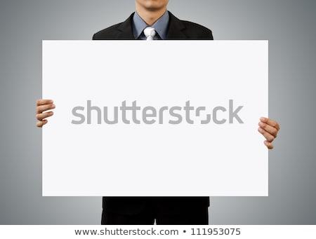 Sorridere imprenditore bianco segno divertimento Foto d'archivio © smithore