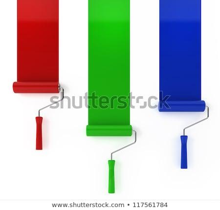3d · render · penseel · schilderij · groene · lijn · verf - stockfoto © montego