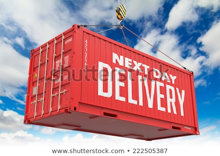 Stock fotó: Next Day Delivery - Red Hanging Cargo Container