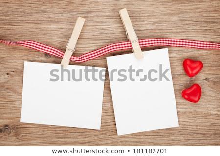2 インスタント 写真 キャンディ 心 木製 ストックフォト © karandaev