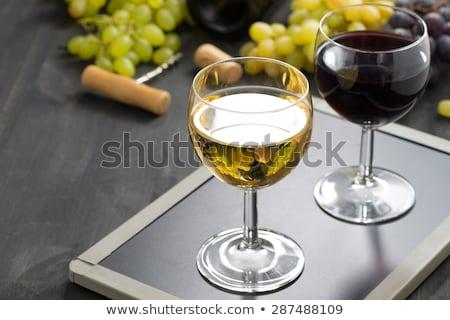 lousa · vinho · branco · vinho · assinar · folhas · frutas - foto stock © Zerbor