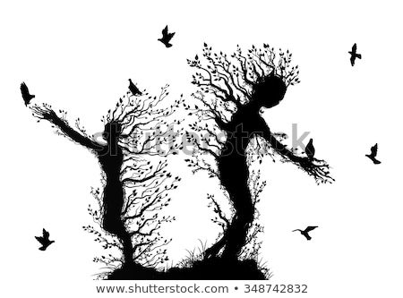 hands standing like tree with bird silhouette stock photo © vgarts