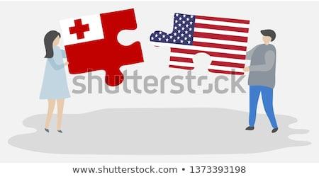 USA · Tonga · flagi · puzzle · wektora · obraz - zdjęcia stock © istanbul2009