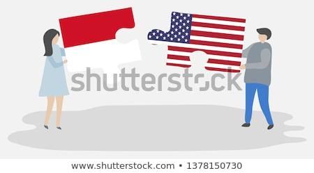 EUA Mônaco bandeiras quebra-cabeça vetor imagem Foto stock © Istanbul2009