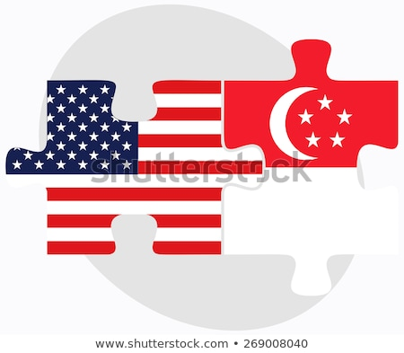 usa and singapore flags in puzzle stock photo © istanbul2009