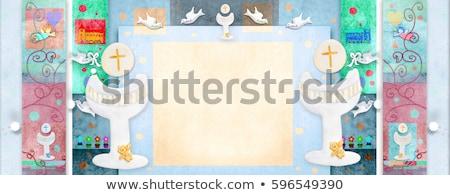 pierwsza · komunia · przypomnienie · karty · dziewczyna · kościoła - zdjęcia stock © marimorena