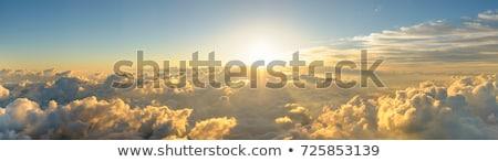 Hajnal hegyek felhők tájkép égbolt fa Stock fotó © All32