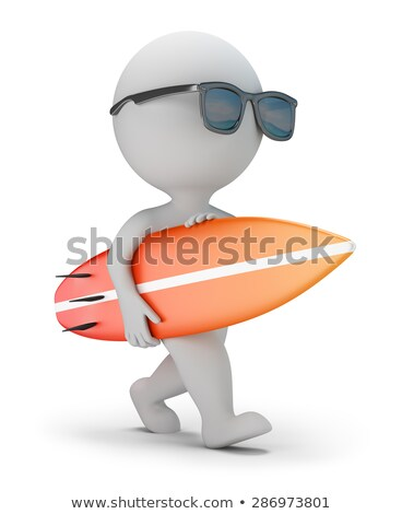 3d small people   walk with a surfboard stock photo © anatolym