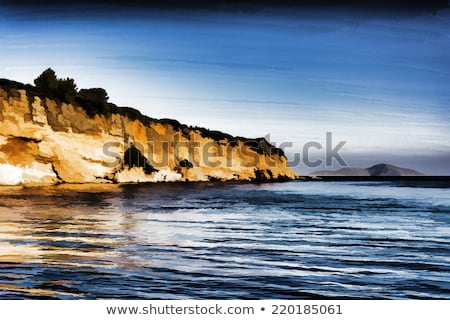Red Castle beach of alonissos, Greece - painting effect Stock photo © ankarb