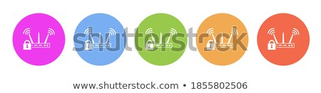 Photo stock: Protection Web Internet Violet Vector Button Icon Design Set