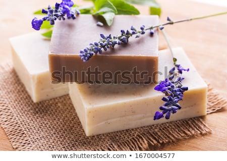 Aromatik sabun tuz eski ahşap aromaterapi Stok fotoğraf © saharosa