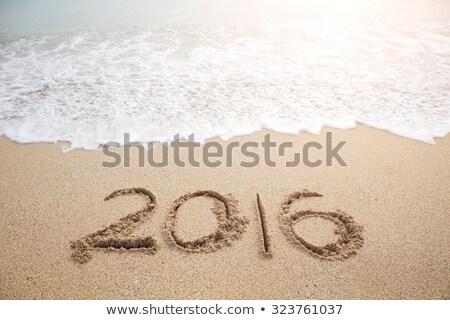 Pismo napis 2016 plaży czyste niebieski Zdjęcia stock © tannjuska