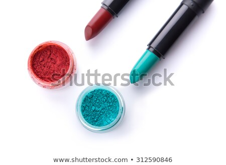 Teal green lipstick on red background  Stock photo © Elisanth
