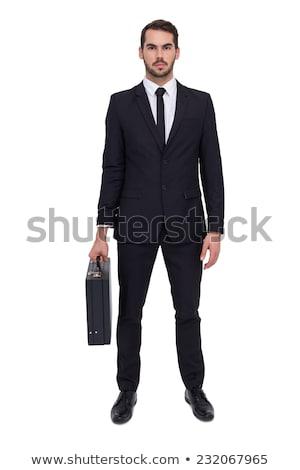 小さな ビジネスマン ブリーフケース 孤立した 白 ストックフォト © Elnur