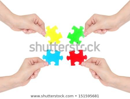 Kék puzzle nő kéz izolált fehér Stock fotó © tetkoren