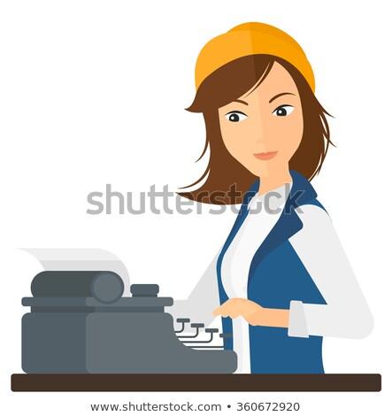 meisje · afdrukken · schrijfmachine · business · vrouw · papier - stockfoto © Paha_L