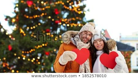 Mooie gelukkig vrouw Rood hart Stockfoto © deandrobot