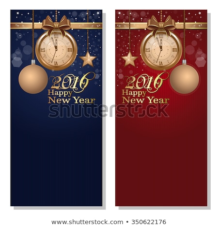 blue glowing merry christmas and happy new year 2016 lettering collection vector illustration stock photo © rommeo79