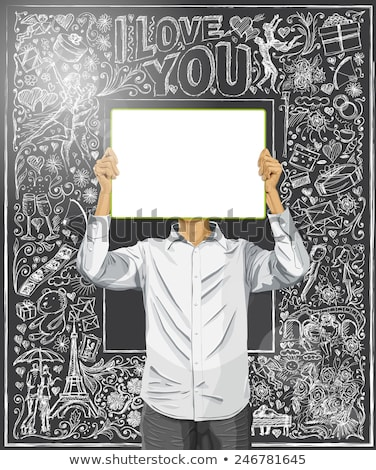 man with write board against love background stock photo © leedsn