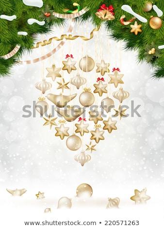 karácsony · fenyőfa · eps · 10 · papír · díszítések - stock fotó © beholdereye