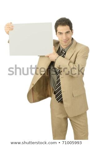 fiatalember · üres · tányér · kamera · izolált · üzlet - stock fotó © Patramansky