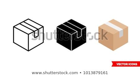 Doboz ikon szimbólum illusztráció terv felirat Stock fotó © kiddaikiddee