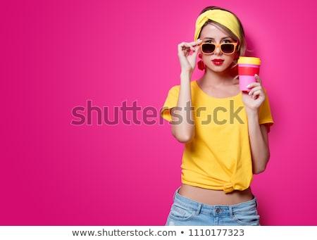 uykulu · güzel · komik · kız · kahve · fincan - stok fotoğraf © massonforstock