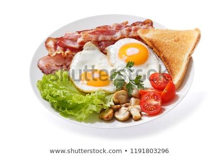 Tükörtojás sonka tányér fa kék reggeli Stock fotó © Digifoodstock