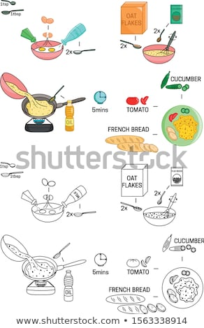Cooking instruction scrambled eggs. Ingredients for scrambled eg Stock photo © popaukropa