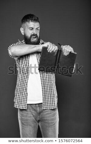 Classeur colère homme blanche stylo design Photo stock © bluering