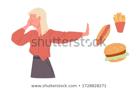 man refusing junk food vector illustration stock photo © rastudio