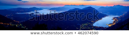 Stock photo: Bay of Kotor at Night. High Resolution Panorama of Boka-Kotorska bay. Kotor, Tivat, Perast, Monteneg