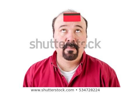 Férfi bankkártya homlok középkorú bank hitelkártya Stock fotó © ozgur