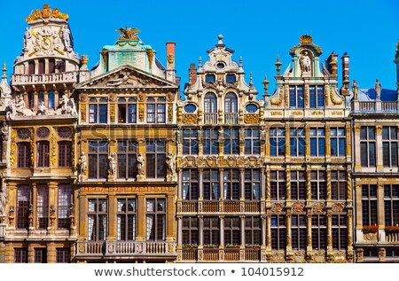 facade of an old guildhall at the Grand Place Stock photo © artjazz