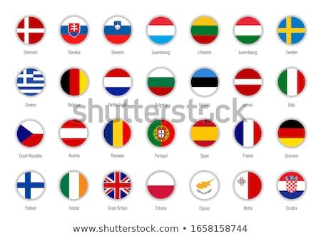 Foto stock: Ilustración · ue · bandera · Estonia · aislado · blanco