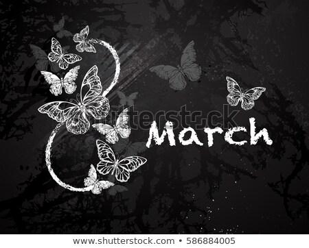 мелом восемь бабочки Рисунок окрашенный черно белые Сток-фото © blackmoon979
