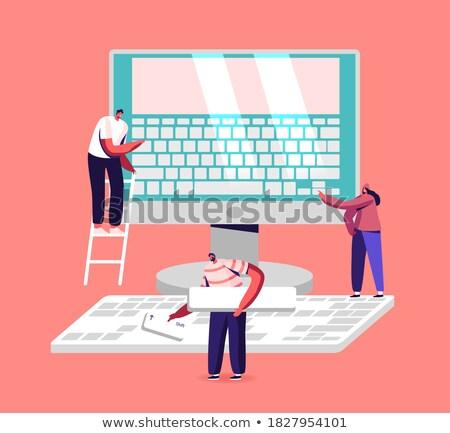 Bilgisayar eğitim kişi tıklayın klavye düğme Stok fotoğraf © tashatuvango