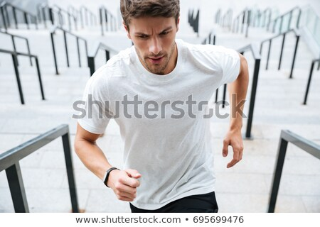 Spor adam çalışma merdiven stadyum görüntü Stok fotoğraf © deandrobot