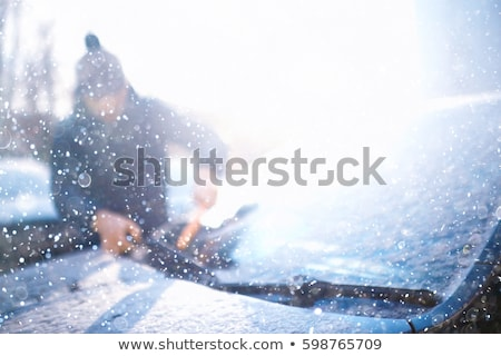 Shoveling Snow Scraping Car Windshield Stock photo © saje