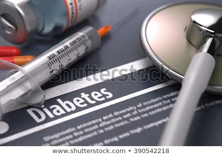 geneeskunde · pillen · suikerziekte · tekst · glas - stockfoto © tashatuvango