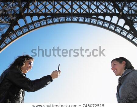 Kadın resim Eyfel Kulesi kadın telefon Stok fotoğraf © IS2