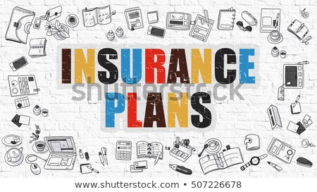 Insurance Plans Concept. Multicolor on White Brickwall. Stock photo © tashatuvango