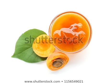 sárgabarack · gyümölcs · egész · fél · levél · izolált - stock fotó © m-studio