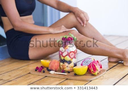 Egészséges fitnessz reggeli gyümölcs narancs banán Stock fotó © M-studio