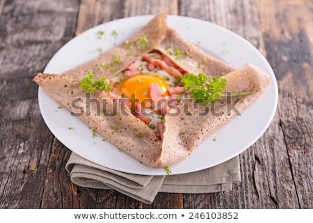 Crepe tojás szalonna háttér étterem ebéd Stock fotó © M-studio