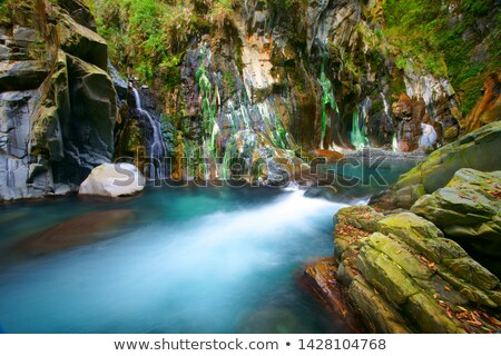 Stock photo: Hot Spring Waterfall with Colorful Algae