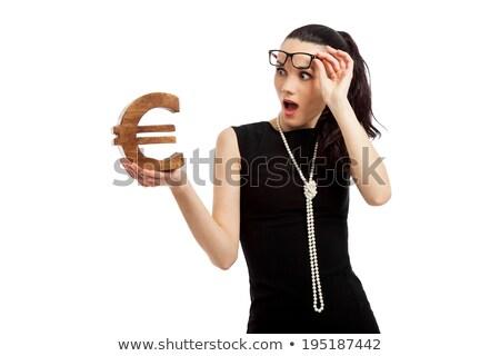 Młodych pani czarna sukienka obraz stałego Zdjęcia stock © deandrobot