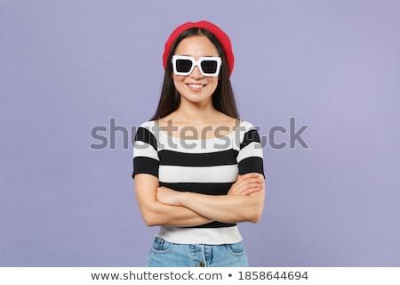 Młodych dość brunetka kobieta pasiasty shirt Zdjęcia stock © deandrobot