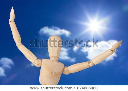 Ahşap heykelcik ayakta silah geniş beyaz Stok fotoğraf © wavebreak_media